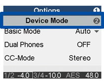 Device Modeメニュー
